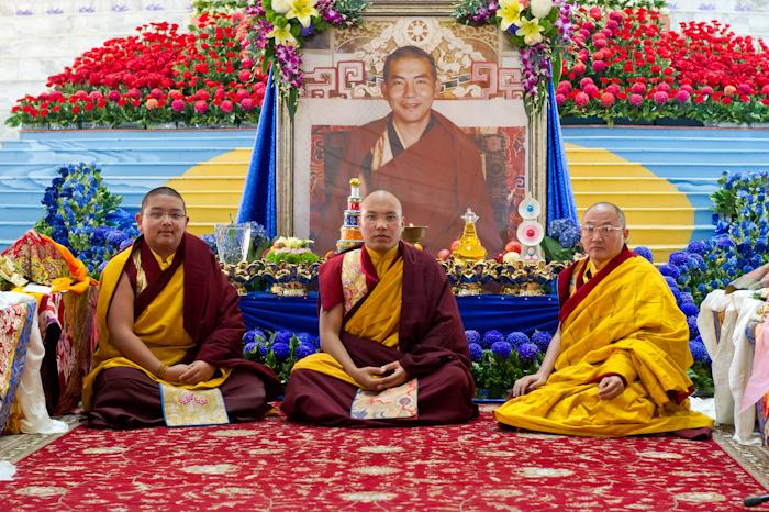 'Homage to the Jamgon Kongtruls' at the 30th Kagyu Monlam: H.E. Jamgon Kongtrul, His Holiness karmapa, H.E. Gyaltsab Rinpoche - Kagyu Monlam website