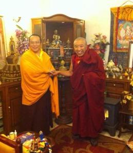 H.E. Tai Situ Rinpoche and Kyabje Thrangu Rinpoche, January 2013 in Delhi, India - photo, Thrangu Tara Abbey