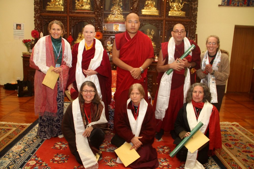 From Left: Amy McCracken, Ani Jangchup, His Holiness Karmapa, Lama Zopa, Amy Schwartz. Sitting: Karen Lucic, Susan Thompson, Yeshe Wangmo