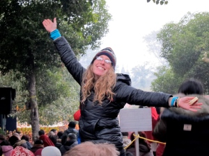 Amy Schwartz at the Mahabodhi Temple
