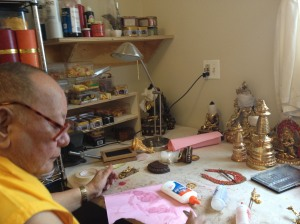 "Khenpo Rinpoche in his workshop at Karme Ling; as his nephew Lama Karma Drodhul says, ""Does Rinpoche rest when he has no teaching? Well, he goes to Karme Ling and then he is always in his work shop! Karmapa Chenno!"""