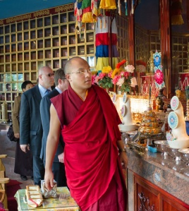His Holiness Karmapa visits the Shrine of the Columbarium in 2010.