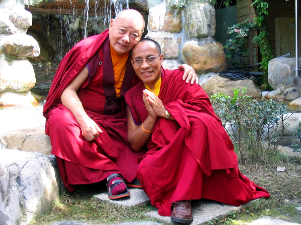 Uncle and Nephew, teacher and student: Khenpo Karthar Rinpoche and Lama Karma Drodhul.