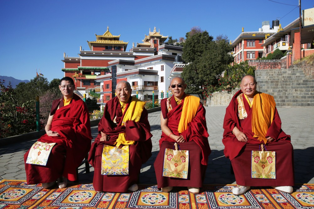 Four Rinpoches of Thrangu Monastery, Namo Buddha, Nepal, November, 2012. Photo by Kama Jangchup