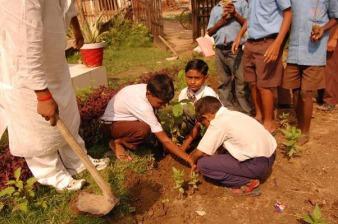 Local school children planting trees in Bodhgaya, 2009.