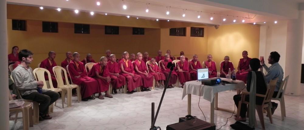 A zero waste workshop with the Tergar monks, 2011.