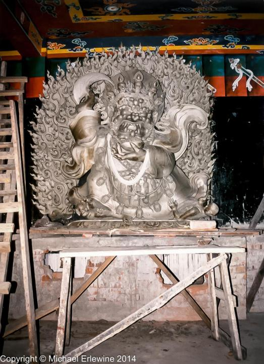"""The most beautiful Mahakala statue I have ever seen. About 6-7 feet tall, it was hand fashioned from clay and had yet to be painted."""