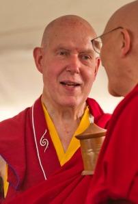 Lama Tsultrim Gyaltsen talks to Lama David Bole during His Holiness Karmapa's 2011 visit.