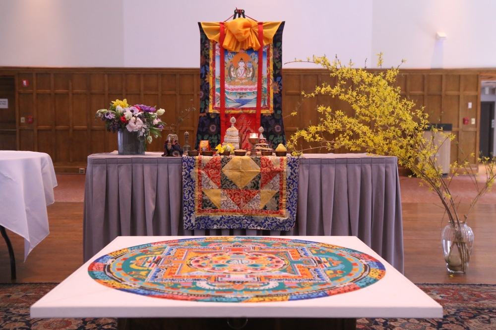 "Chenrezig altar and completed sand mandala, Vassar College Main Building, done in conjunction with ""Embodying Compassion in Buddhist Art."