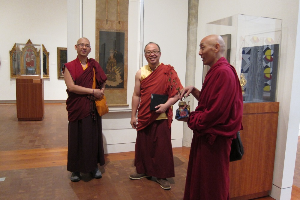 Drikung lamas and mandala makers bless the exhibition on opening day. Left to right: Lama  Konchok Sonam Karushar, Vajra Master Hun Yeow Lye, and Khenpo Choephel.