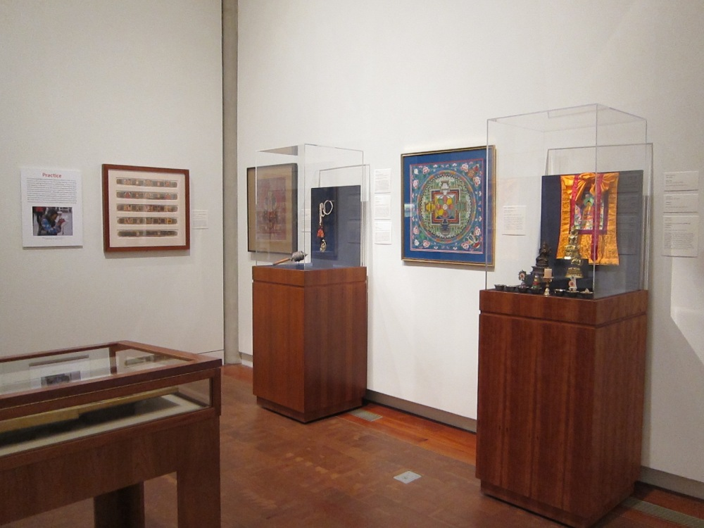 In the second gallery, rare copies of the Prajnaparamita, Lotus, and Heart Sutras emphasize Avalokiteshvara's presence in Buddhist scriptures, while a mala, mandala, prayer wheel, and shrine demonstrate the various forms of ritual practice associated with the Bodhisattva.