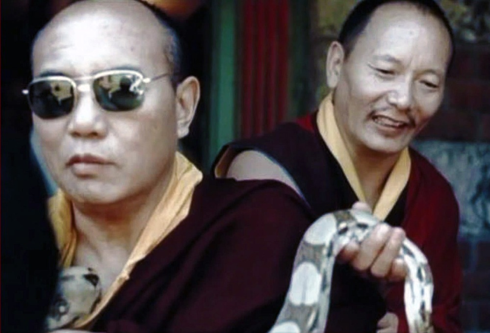 His Holiness the Sixteenth Karmapa and Khenpo Karthar Rinpoche; from archives.