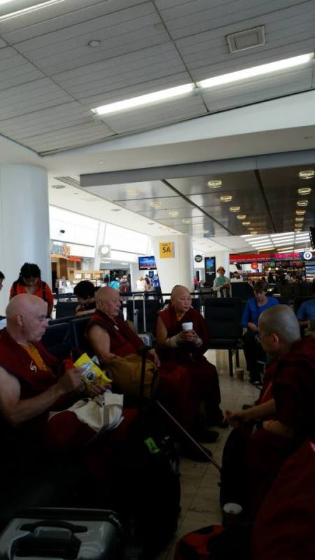Meeting Rinpoche and Lamas at JFK before our fight to Beijing.