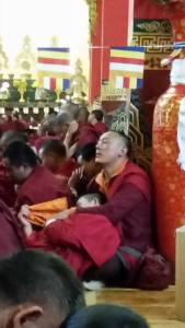 Tired monks ... many are very young.