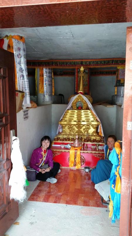 Inside Traleg Rinpoche Stupa — with Shirley and Amy.