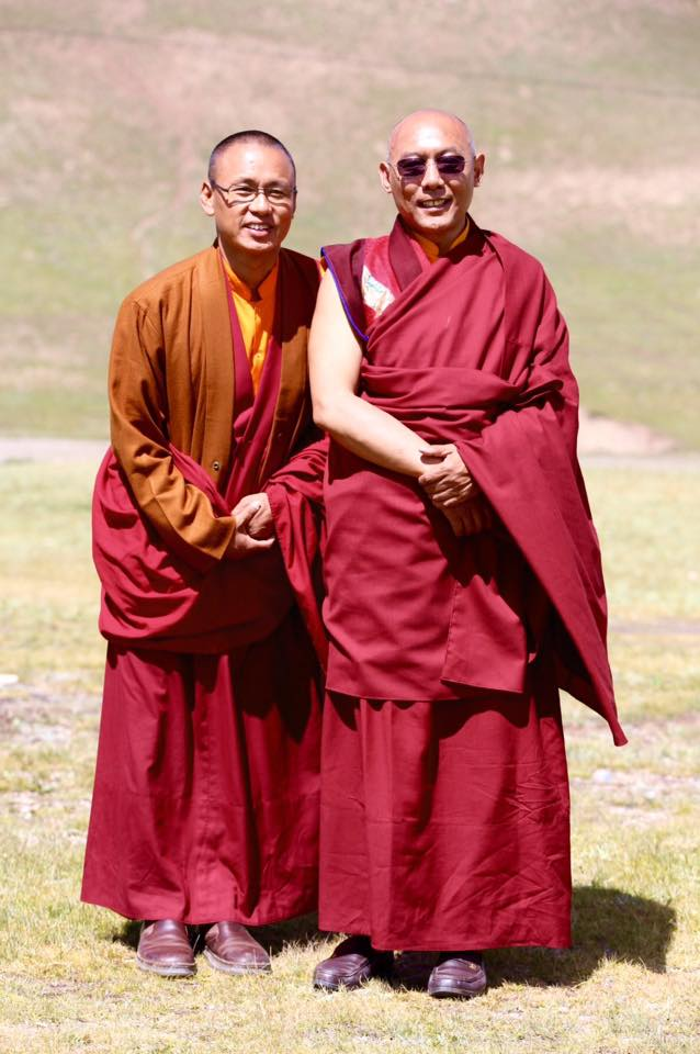 Abbott of Thrangu monastery in Yushu, Quinghai Venerable Lodro Nyima Rinpoche and lama Tashi Tsewang, Thrangu Rinpoche's attendant.