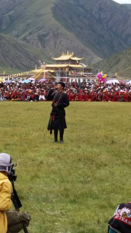 There was singing by children who were orphaned by the earthquake that destroyed Yushu and surrounding monasteries in 2010.