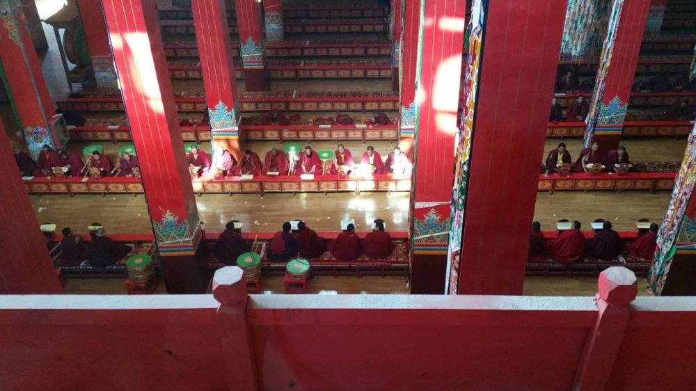 Looking down onto main shrine room.
