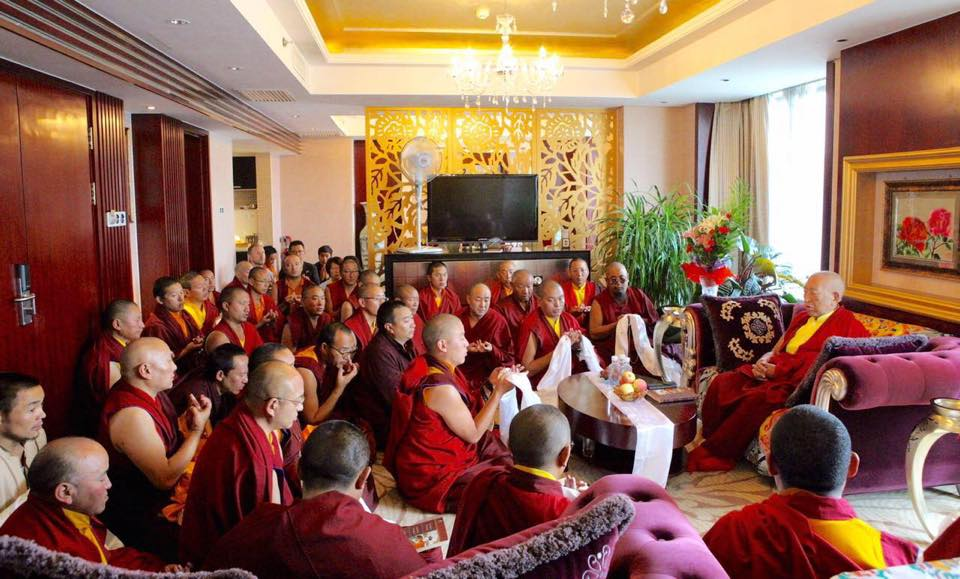 Rinpoche offers oral transmission (Lung) from Treasury of Knowledge, Xining.